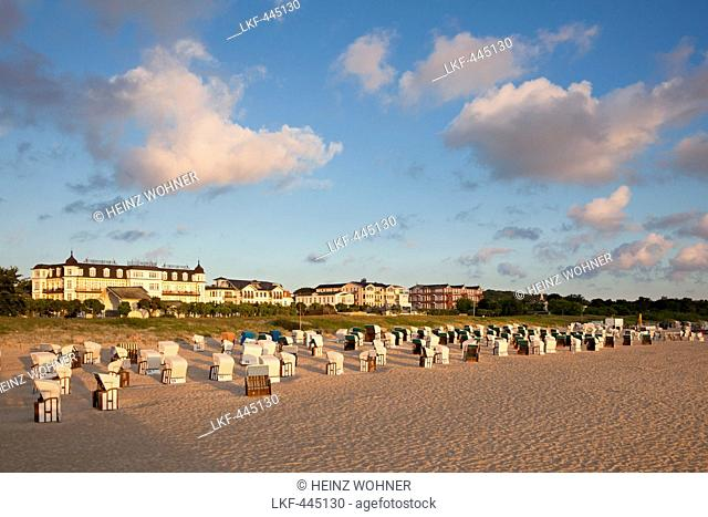 View from the pier over the beach to the seaside promenade, Ahlbeck, Usedom island, Baltic Sea, Mecklenburg Western-Pomerania, Germany