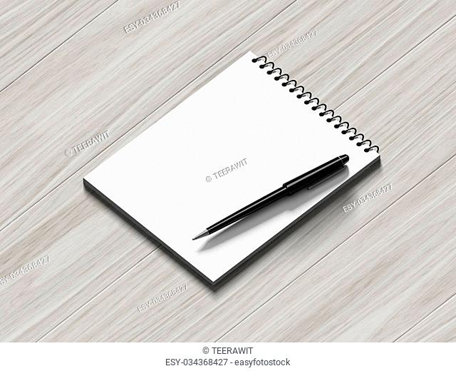 Blank note paper with pen. on wood background, business object