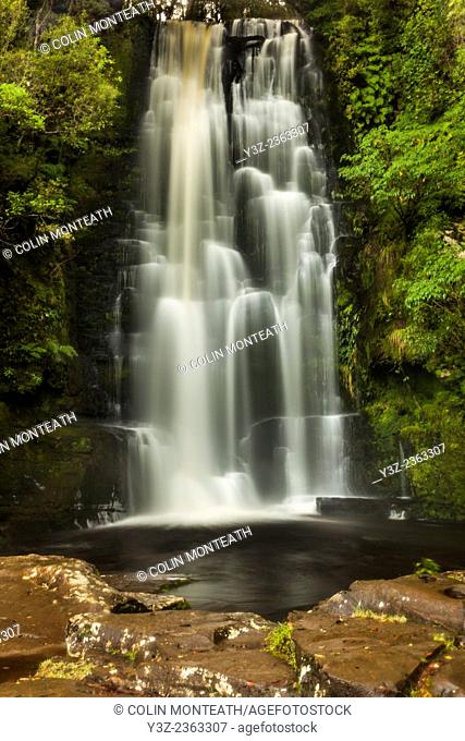 McLean Falls, brown water with organic matter after rain, The Catlins, Southland, New Zealand