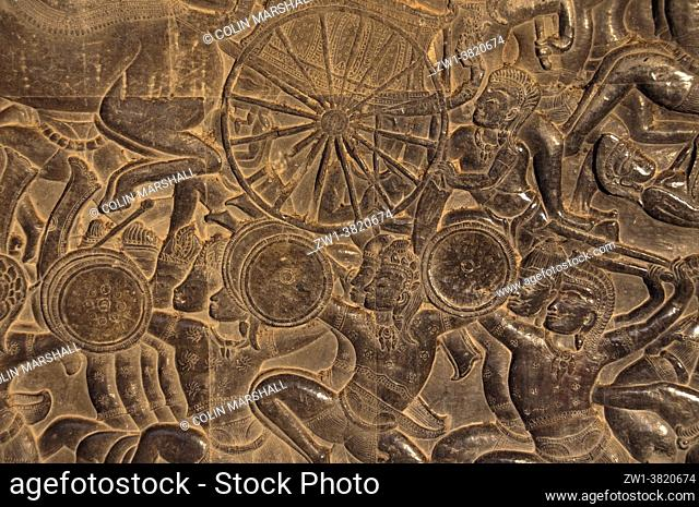 Carving of soldiers at Battle of Kurukshetra with chariot, Angkor Wat temple, Siem Riep, Cambodia