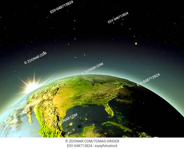 North America with sunrise from Earth's orbit. 3D illustration with detailed planet surface, atmosphere and city lights. Elements of this image furnished by...
