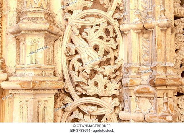 Manueline decoration, Unfinished Chapels, Dominican abbey Batalha Monastery, Unesco World Heritage Site, Batalha, Leiria district, Portugal