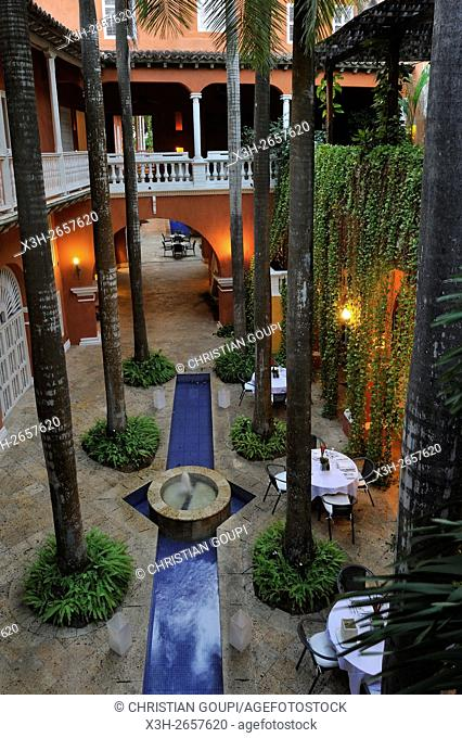 patio of the Casa Pestagua hotel in the downtown colonial walled city, Cartagena, Colombia, South America