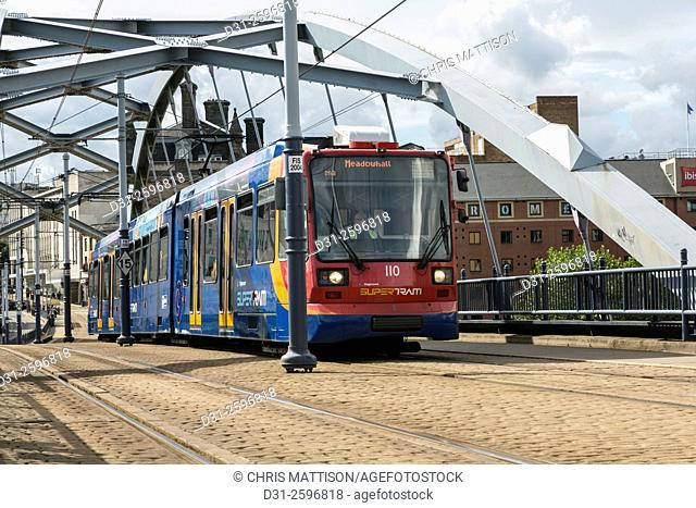 Sheffield Supertram at Ponds Forge in the City Centre