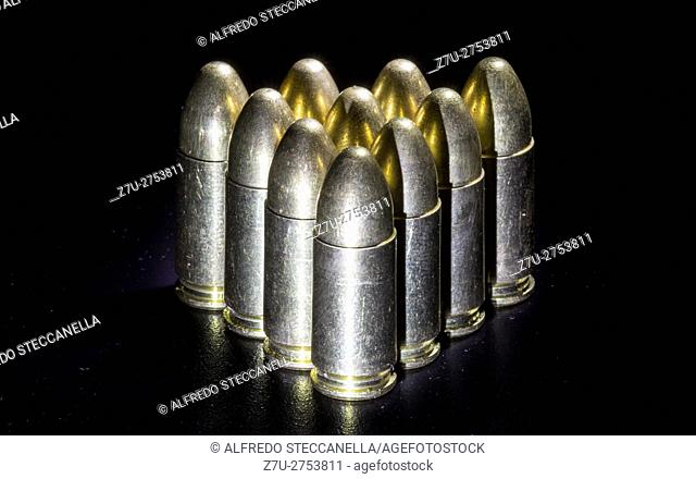 The bullets on black background