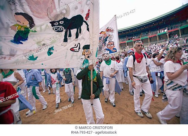 Clubs parade in Plaza de Toros, San Fermin festival, Pamplona, Navarra, Euskadi, Spain, Europe
