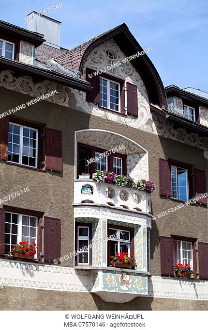 Typical old town house, Samedan, Upper Engadine, Canton of Grisons, Switzerland