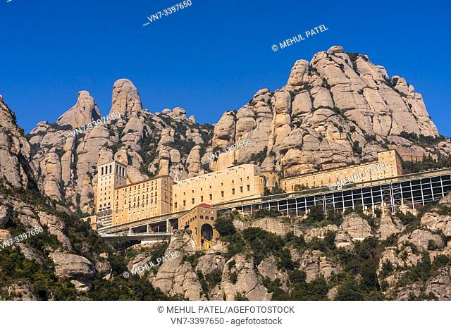 The monestary on Montserrat - Catalunya, Spain. The monestary sits on the usual rock mountain formation of Montserrat and is a popular pilgramage site for...
