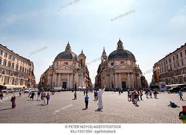 Santa Maria dei Miracoli and Santa Maria di Montesanto in the Piazza del Popolo, Rome