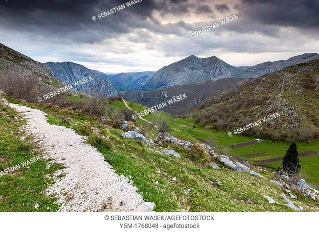 View from Sierra Cocon over Urdon valley, Tresviso, Picos de Europa National Park, Cantabria, Spain