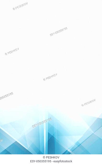 Light white and blue polygonal background with copy space. 3D Rendering