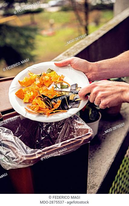 Recycling organic waste. Two hands holding a plate with some vegetable waste, being thrown in an organic waste bin. Sesto San Giovanni (Milan)