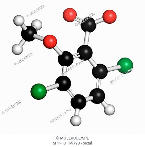 Dicamba herbicide molecule. Used in weed control. Atoms are represented as spheres with conventional colour coding: hydrogen (white), carbon (black)