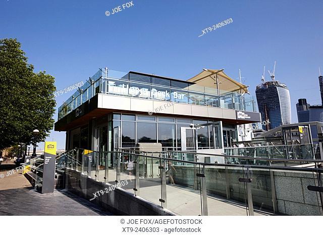 upper deck bar and entrance to hms belfast museum London England UK
