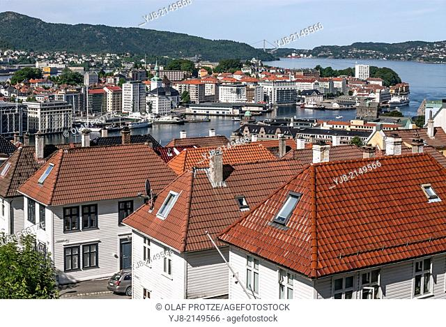 View over the historic old town of Bergen, Norway