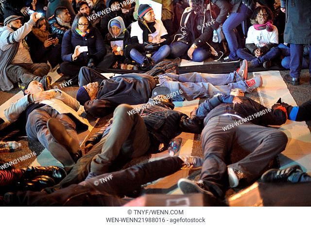 Protesters, demanding justice for Eric Garner, gather by Brooklyn Bridge in New York City Featuring: Atmosphere Where: Manhattan, New York