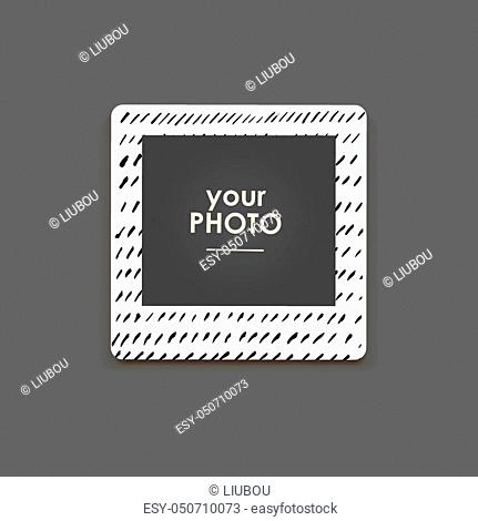 Photo frame Album template for kid, baby, family or memories. Scrapbook concept, vector illustration
