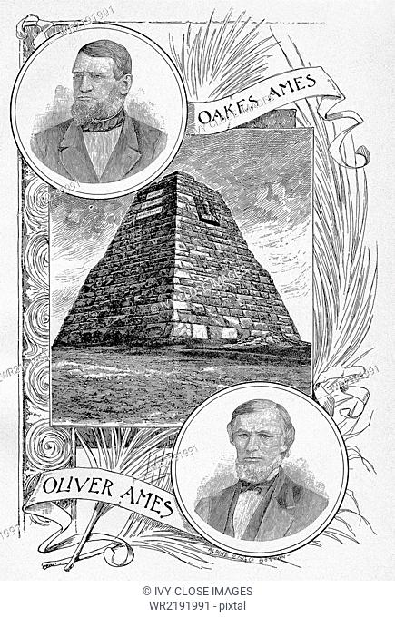 This 1891 illustration shows Oliver and Oakes Ames. Oakes Ames (1804-1873) was an American manufacturer, railroad promoter, ,and poltician