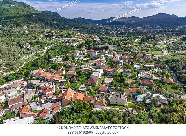 Aerial view from fortress in Stari Bar (Old Bar) - small town near Bar city, part of Bar Municipality in southern Montenegro