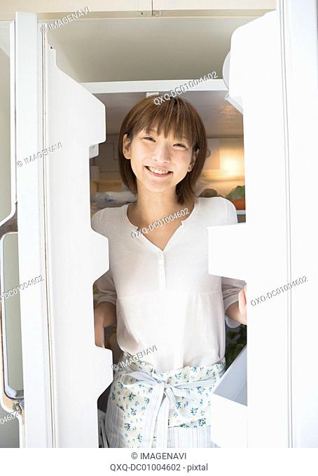 A woman in a refrigerator