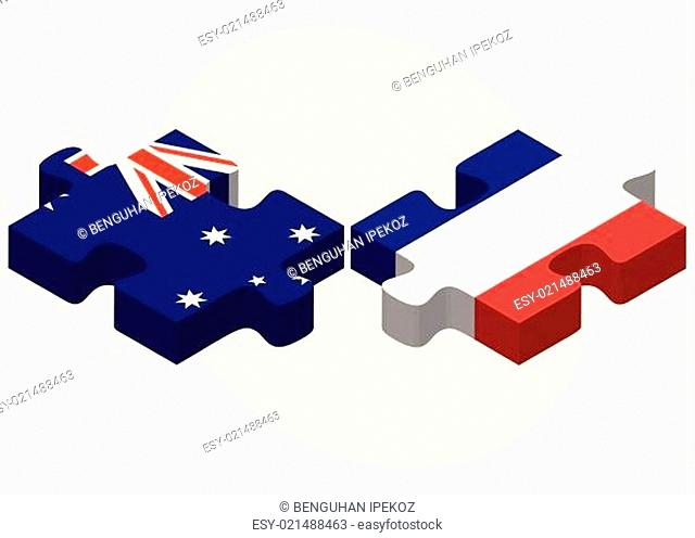 Australia and France Flags in puzzle