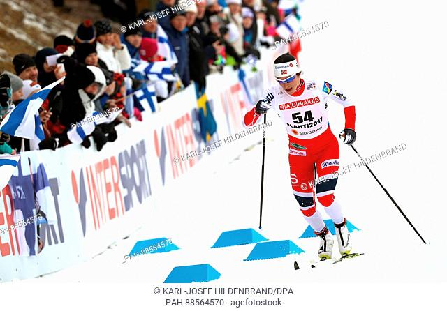 Marit Björgen from Norway at the finish line at in the women's 10km cross country event at the Nordic Ski World Championship in Lahti, Finland, 28 February 2017