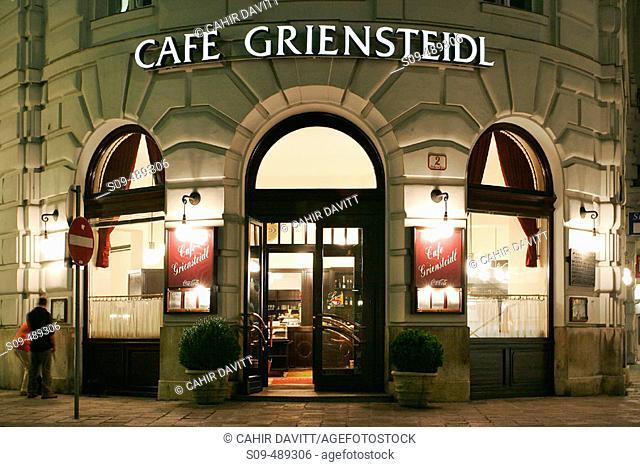The famous Cafe Griensteidal coffee house in Michaeler Platz, Vienna, Austria
