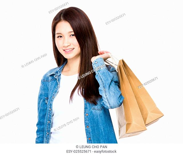 Woman holding with shopping bag