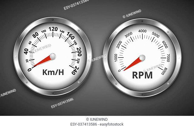 Tachomter and speedometer retro vintage boat or car gauges. Vector illustration