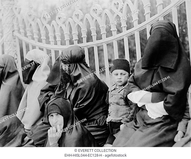 Veiled Islamic women in Constantinople in 1919. In the 1920s, the new Turkish leader, Kemal Ataturk, allowed women the freedom to wear modern clothing...