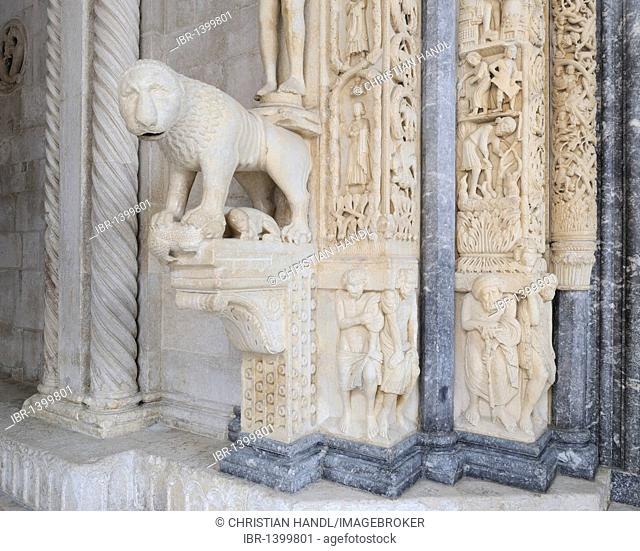 Detail of the Romanesque portal of the Cathedral of St. Lawrence in Trogir, Croatia, Europe