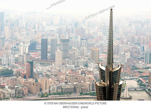 China, Shanghai, view from Shanghai World Financial Center to the top of the Jin Mao Tower