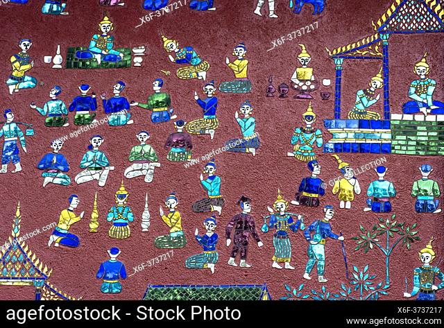 Glass mosaic depicting stories from the parables of Siaosawat, including religious activities and daily life scenes, external wall of the Red Chapel