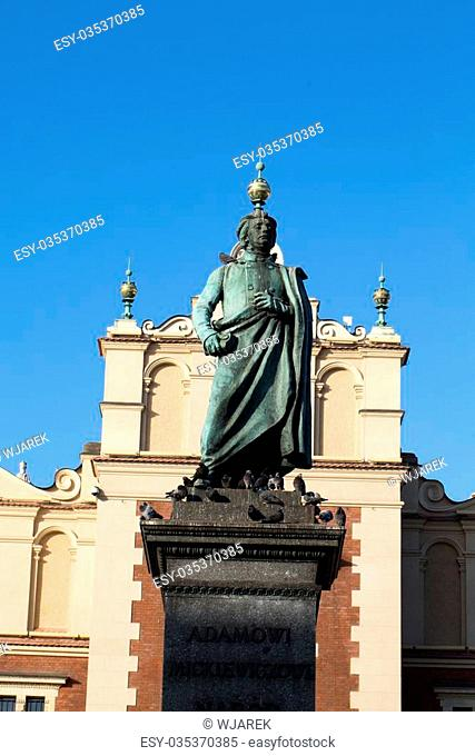 Cracow - the sculpture of Adam Mickiewicz on the main square in Krakow