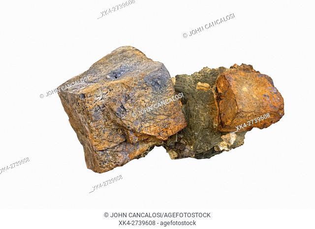 Galena, PbS, Lead sulfide, main ore mineral of lead, and marcasite, Tri state district, Oklahoma