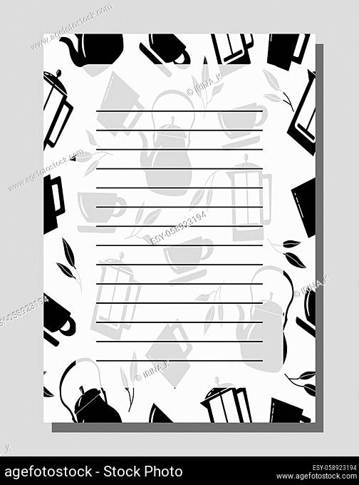 Food recipe blank. Template for writing recipes. Background with illustration of different kitchen utensils. Vector illustration