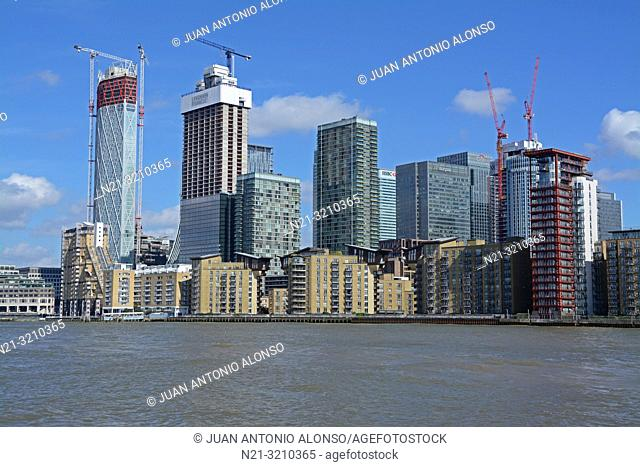 Canary Wharf business area from the River Thames. London, England, Great Britain, Europe