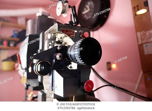 lenses on old film projector in old cinema projection room Biggar Saskatchewan Canada