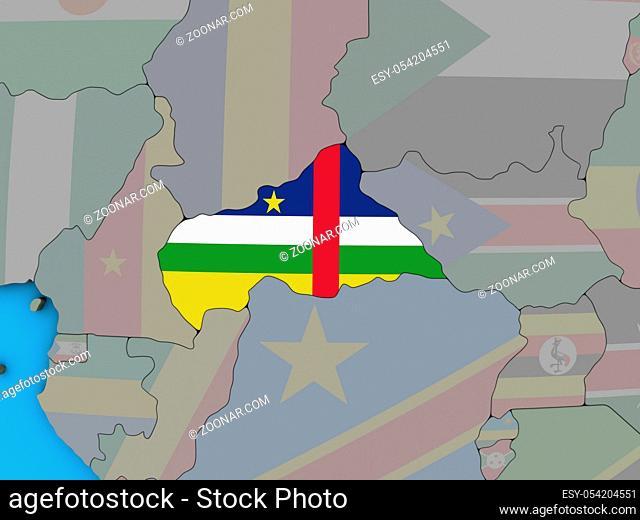 Central Africa with embedded national flag on blue political 3D globe. 3D illustration