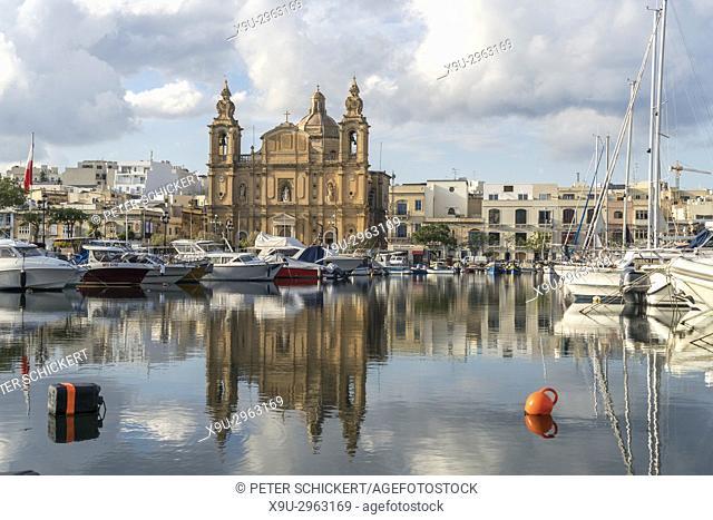 Parish Church St Joseph's and the Marina, Msida, Valletta, Malta