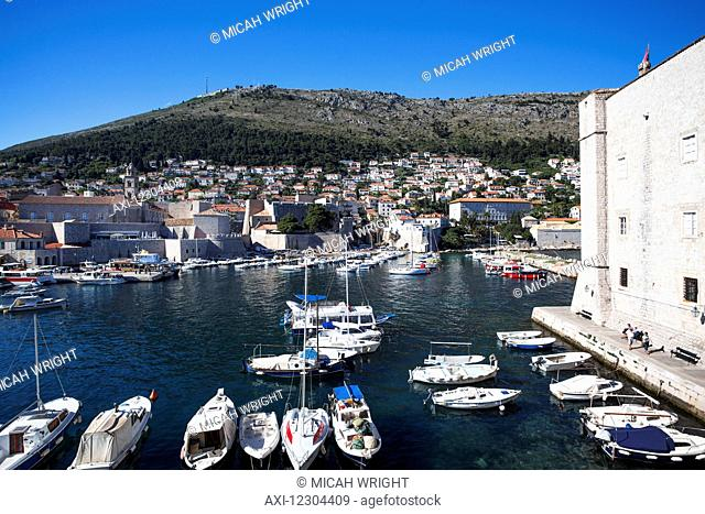 The Walls of Dubrovnik surround the old city of Dubrovnik and provide stunning scenery and vantage points around the city; Dubrovnik, Croatia