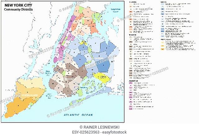 new york city, boroughs, districts, neighborhoods map