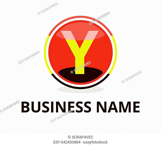 black and red yellow color glasses circle button web logo graphic design with modern clean style for any professional company with initial type letter y on it