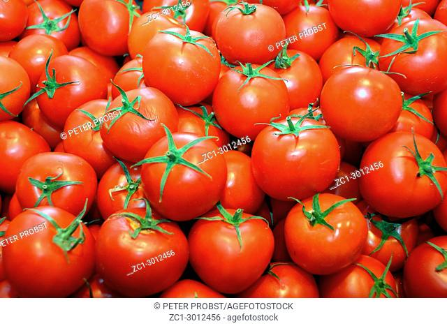 Tomatoes in the market hall of Budapest - Hungary