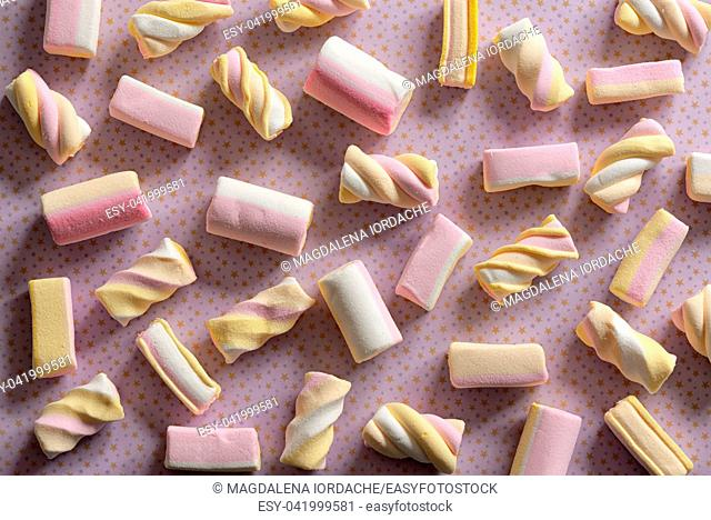 Candy marshmallow sweets pattern background