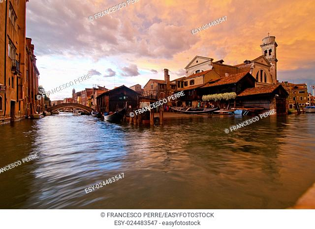 """San trovaso """"""""squero """""""" in Venice Italy is the place where gondolas and other boat are build and repaired"""