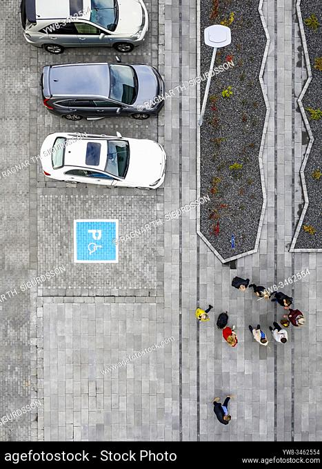 Aerial - parking lot with disabled spot, Borgarfjordur, Iceland