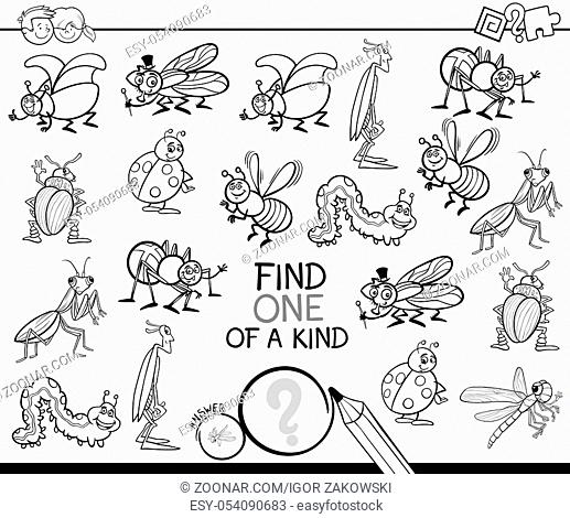 Black and White Cartoon Illustration of Find One of a Kind Educational Activity Game for Children with Insects Comic Characters Coloring Book