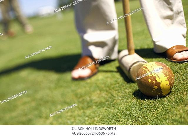 Low section view of a person with a ball and a croquet mallet