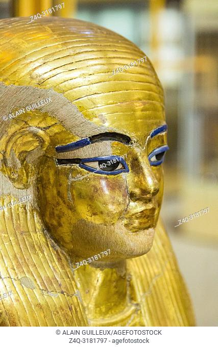 Egypt, Cairo, Egyptian Museum, from the tomb of Yuya and Thuya in Luxor : Gilded mask of Yuya, made of cloth and plaster